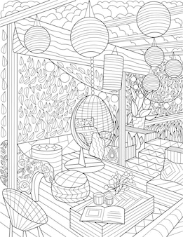 Lounge area doodle lamps hanging chair coloring book page living room doodling set couch center