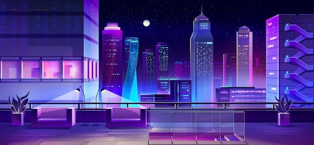 도시 집 지붕 만화에 라운지 공간