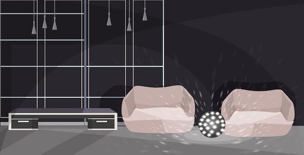 アームチェアとランプの近代的なオフィスインテリアスケッチのラウンジエリア