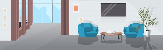 Lounge area with armchairs coffee table and tv modern office interior sketch