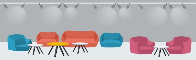 Lounge area with couch and armchairs around tables modern office waiting room interior sketch