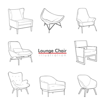 Lounge chair simple  set