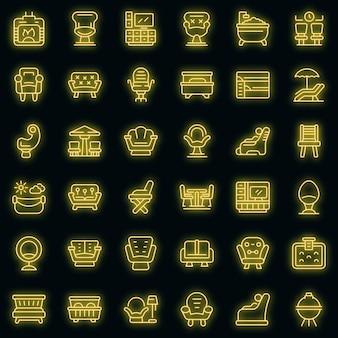 Набор иконок для гостиной вектор неон