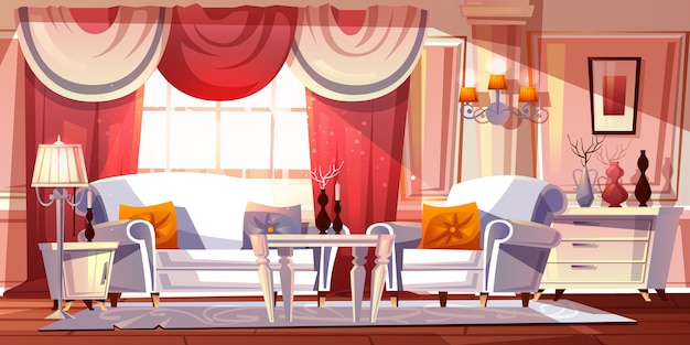 Lounge room luxury interior illustration or classical empire style apartments.