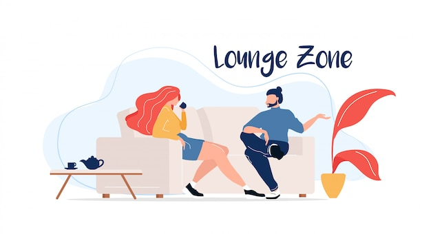 Lounge zone flat color faceless characters