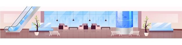Lounge zone flat color illustration