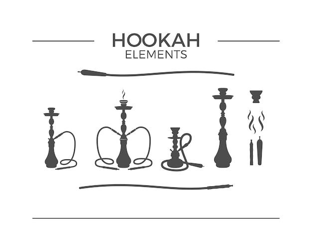 Набор элементов дизайна кальян силуэт. урожай кальян логотип символы. lounge кафе эмблема, значок. арабский бар или дом, магазин.