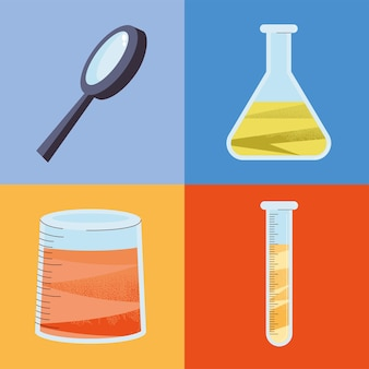 Loupe and chemistry icons