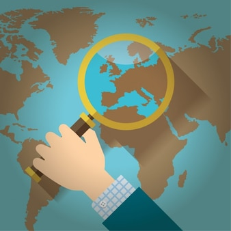 Loupe over a world map flat design