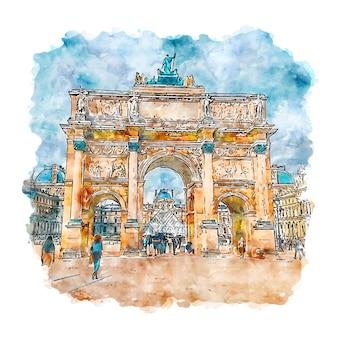 ルーブル美術館パリフランス水彩スケッチ