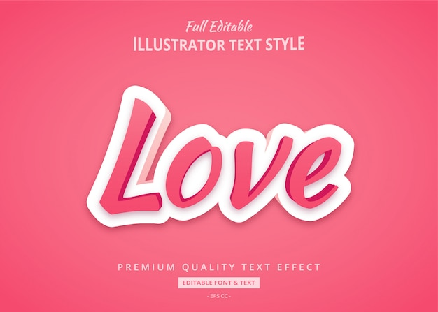 Love 3d shadow text style effect premium