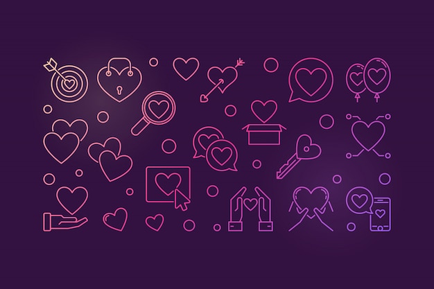 Love addiction colored outline icons