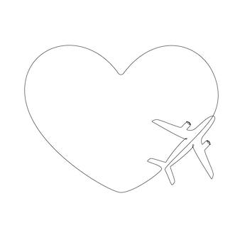 1つの連続線画で飛行機のルートが大好きです。ロマンチックな休暇の観光と旅行の概念。心のこもった飛行機の道。線形スタイルのシンプルなベクトル図