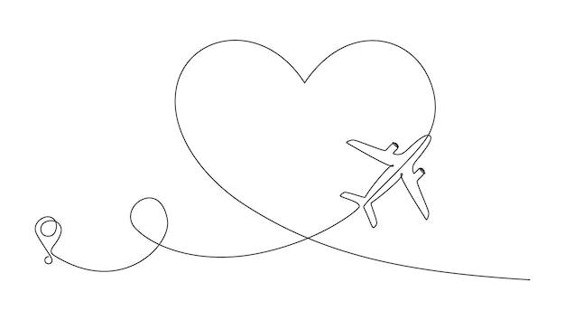Люблю маршрут самолета в одном непрерывном рисовании линий. понятие о романтическом отдыхе и путешествиях. сердечный самолетный путь. простые векторные иллюстрации в линейном стиле