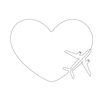 Love airplane route in one continuous line drawing. concept of romantic vacation turism and travel. hearted plane path. simple vector illustration in linear style