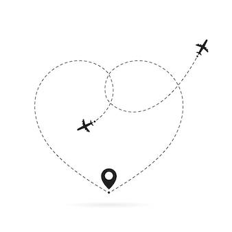 飛行機のルートが大好きです。ロマンチックな旅、ハートの破線トレース、飛行機のルート。心の飛行機のパス
