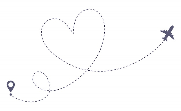 Love airplane route. romantic travel, heart dashed line trace and plane routes isolated  illustration