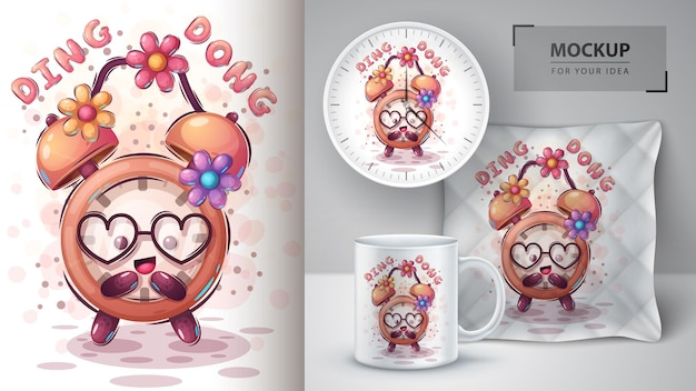 Love alarm clock poster and merchandising. vector eps 10