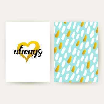Love always 80s 스타일 포스터. 필기체 글자와 트렌디한 패턴 디자인의 벡터 일러스트 레이 션.