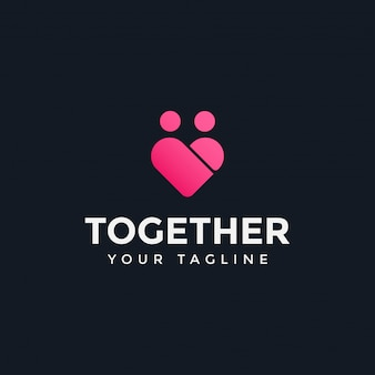 사랑과 가족 사람들이 함께 로고 디자인 템플릿 일러스트