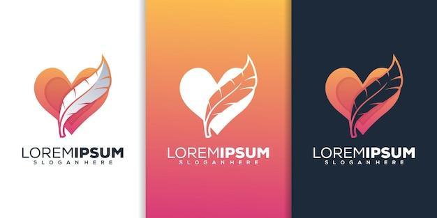 Любовь и перо логотип шаблон