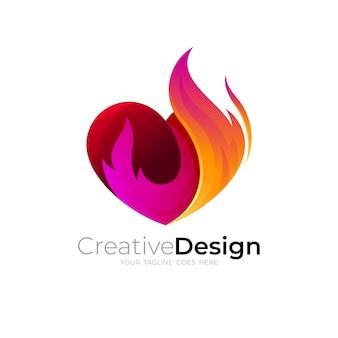 愛と火のデザインの組み合わせ、カラフルなスタイル