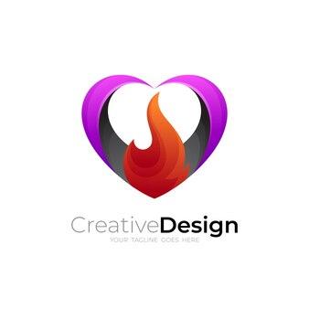 愛と火のロゴデザインの組み合わせ