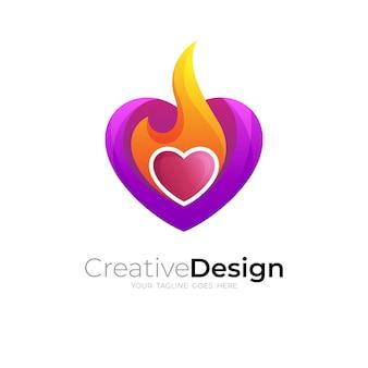 사랑과 불꽃 디자인 다채로운, 3d 다채로운