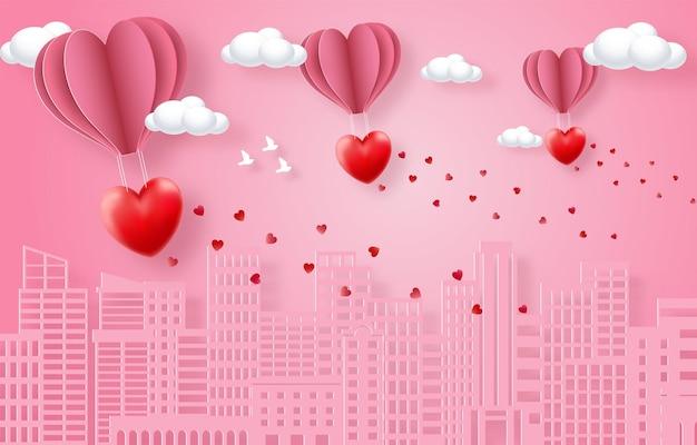 愛と幸せなバレンタインデーのバナー、ペーパーアートスタイルのベクトルプレミアム