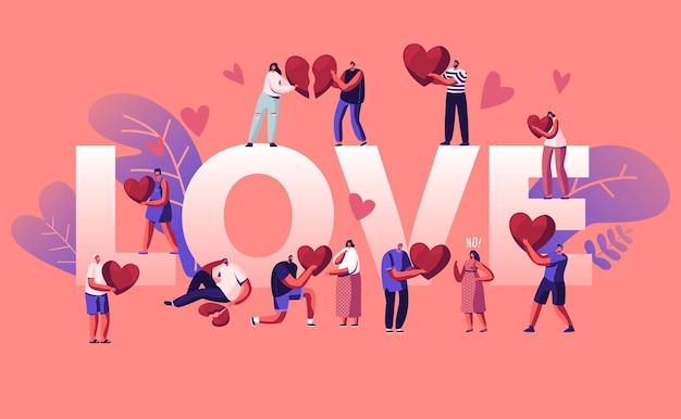 Концепция любви и горя. мультфильм плоский иллюстрация