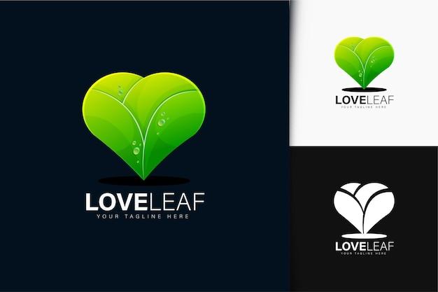 그라데이션이 있는 사랑과 잎 로고 디자인