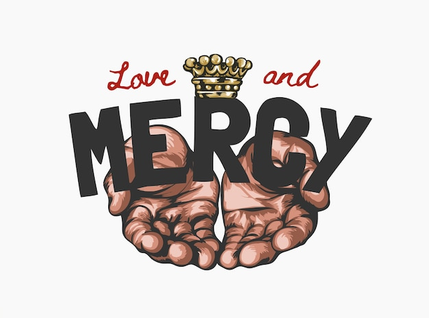 物乞いの手グラフィックイラストと愛と慈悲のスローガン