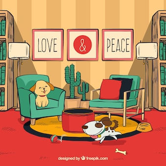 Love and peace concept with dogs