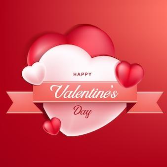 사랑과 핑크 리본. 발렌타인 데이 배경