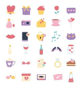 사랑과 로맨스 아이콘 설정, 만화 스타일 그림에서 심장 선물 메시지 꽃 반지 입술 자물쇠 달력
