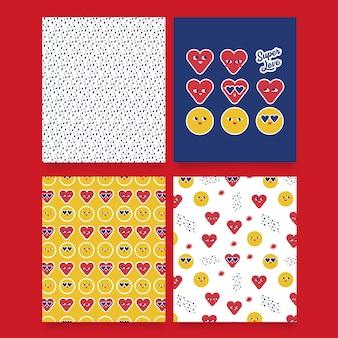 사랑과 미소 얼굴 Emojis 패턴 및 카드 프리미엄 벡터