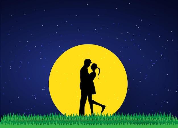 사랑과 발렌타인 데이 연인은 초원과 종이 예술 심장 모양에 서