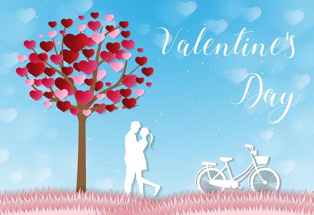 사랑과 발렌타인 데이 연인은 하늘 공예 스타일에 떠있는 종이 예술 하트 모양의 풍선을 서 있습니다.