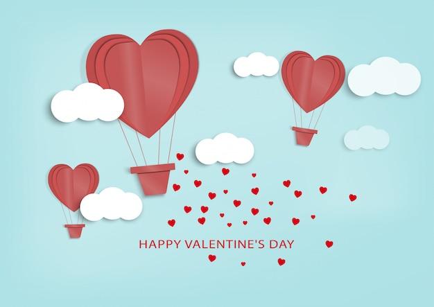 愛とバレンタインのday.paperアートとデジタルクラフトスタイル。