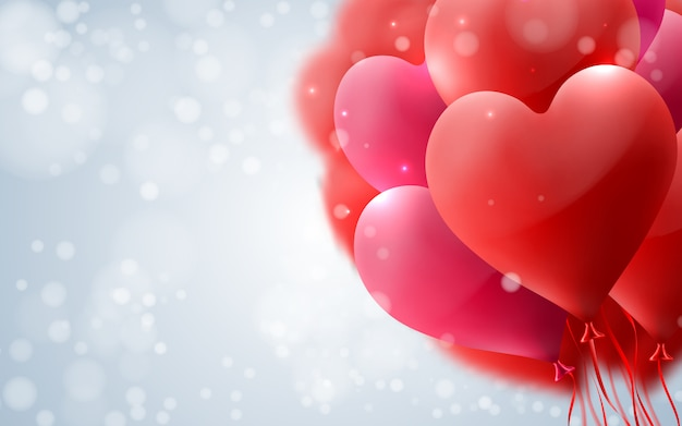 Любовь и день святого валентина фон с сердечными воздушными шарами