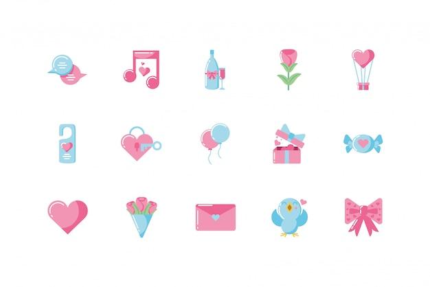 사랑과 발렌타인 데이 아이콘 세트