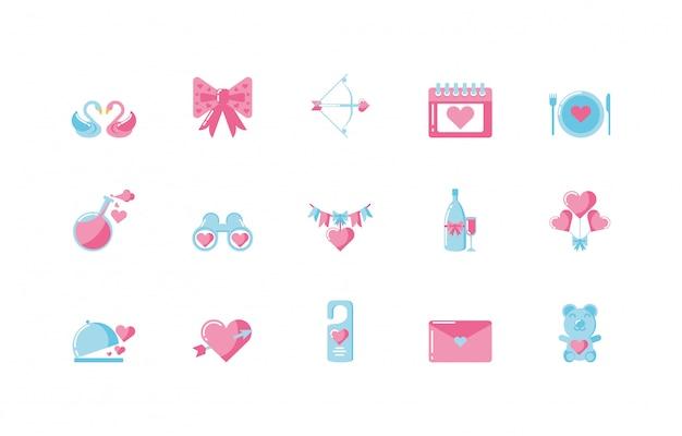 Любовь и день святого валентина икона set