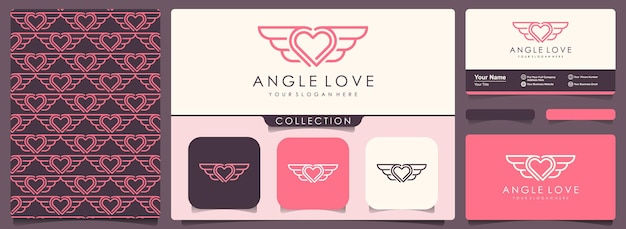 명함 디자인 서식 파일로 사랑과 날개 로고.