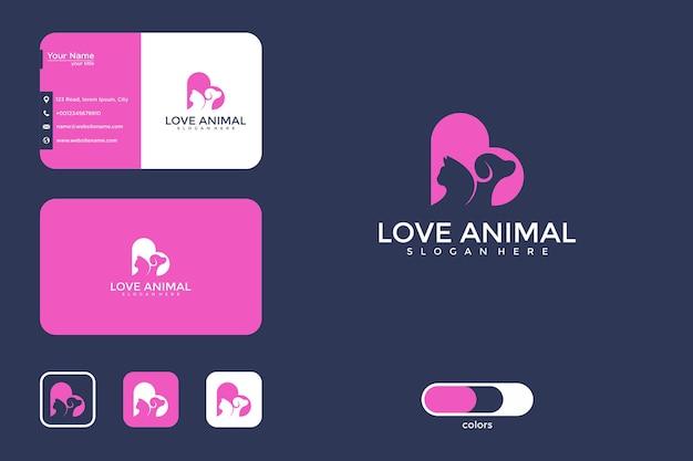 Любовь дизайн логотипа животных и визитная карточка