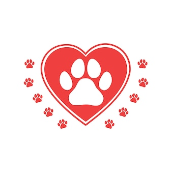 Love animals concept with heart and paw. dog or cat print. vector.
