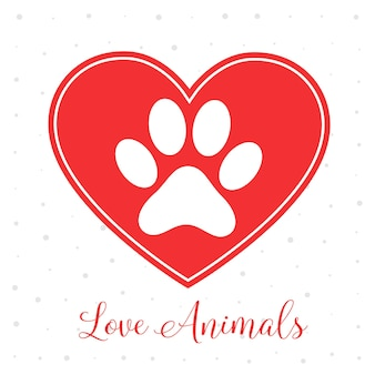 Love animals concept with heart and paw print