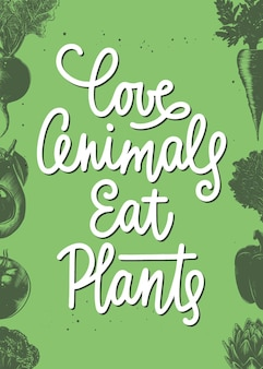 愛の動物は植物を食べる野菜のスケッチで現代書道手書きのレタリング