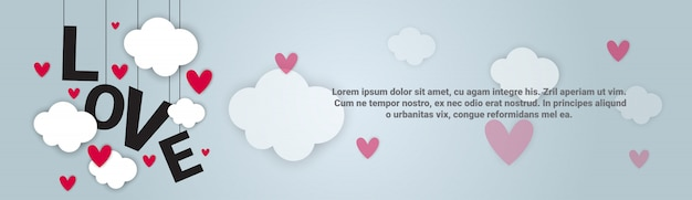 Love backgorund valentines day horizontal banner with copy space