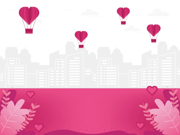 Love background illustration with cityscape