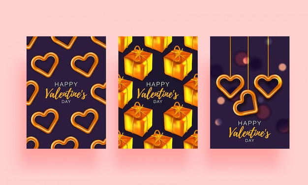 Love background set brochure. gift poster card. sale banner template for valentines day. banner with hearts and gifts.